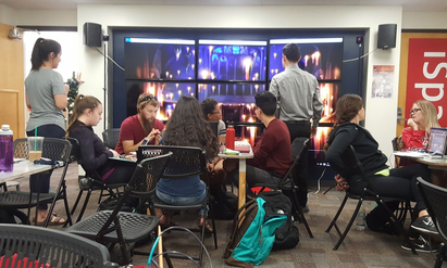 Students collaborate in the iSpace at the UA Science and Engineering Library